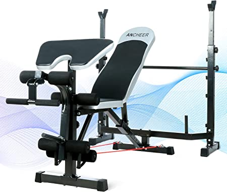 side facing ancheer adjustable olympic weight bench