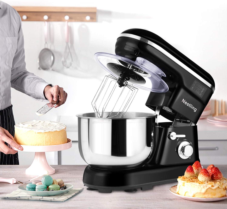 Nestling® - Robot de cocina (1200 W, bajo ruido (5 L, 5 velocidades), protección contra salpicaduras, incluye varilla, gancho para amasar y batidor (negro): Amazon.es: Hogar