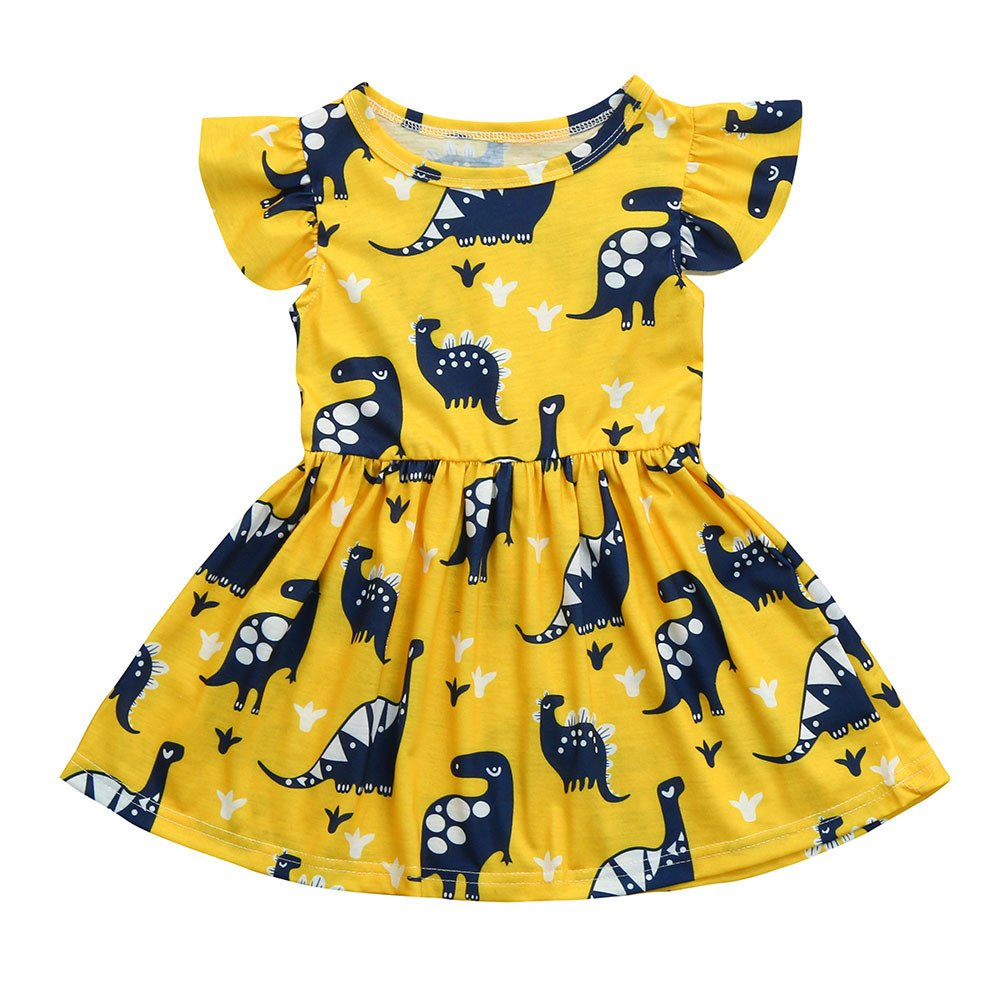 Birdfly Girl Cute Dress with Dinosaur Pattern in Yellow 2T-6T