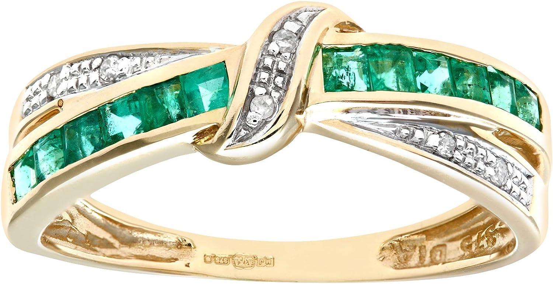 Naava Anillo de Mujer con Oro de 9 quilates (375) con Esmeraldas y Diamantes