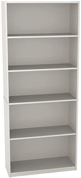 Ameriwood 5-Shelf Bookcase, White Stipple