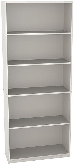 Ameriwood 5-Shelf Bookcase, White Stipple