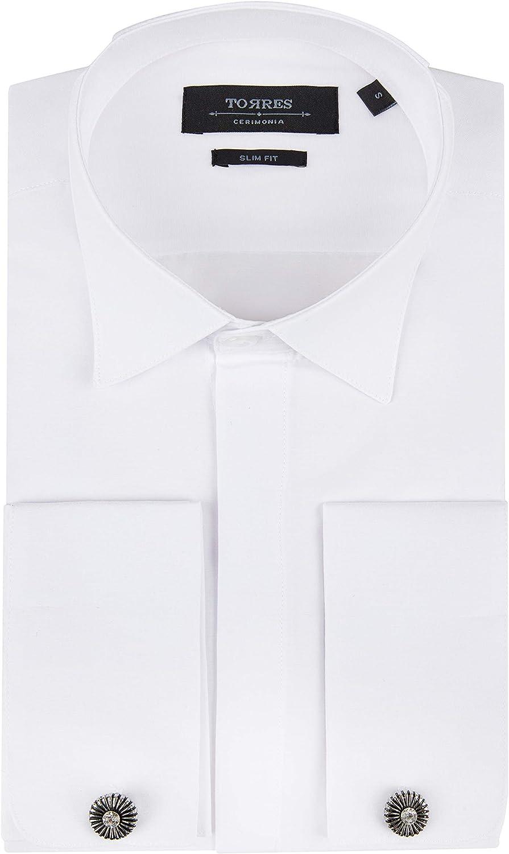Jack Martin London - Camisa de vestir con gemelos para hombre, cuello de ala blanca, doble puño: Amazon.es: Ropa y accesorios