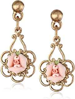 product image for 1928 Jewelry Porcelain Rose Drop Earrings