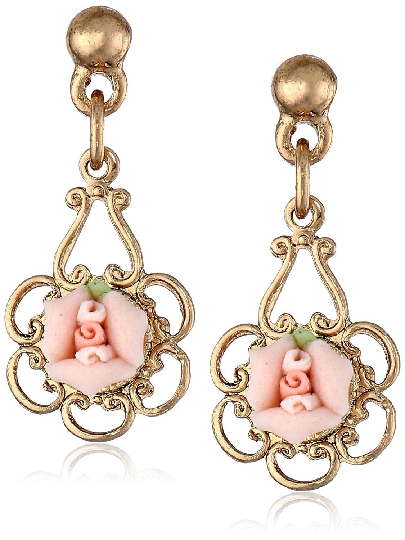 Amazoncom 1928 Jewelry Ivory Color Porcelain Rose Drop Earrings