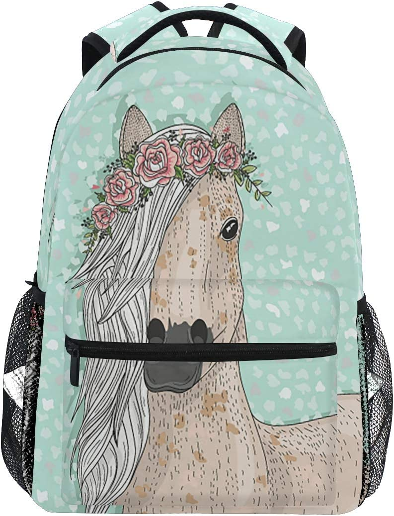 Horse Backpack Flower Animal Travel Laptop Backpacks Daypack Student Bookbag School Bag Shoulder Bag For Girls Boys Elementary Fits up to14 Inch Laptop