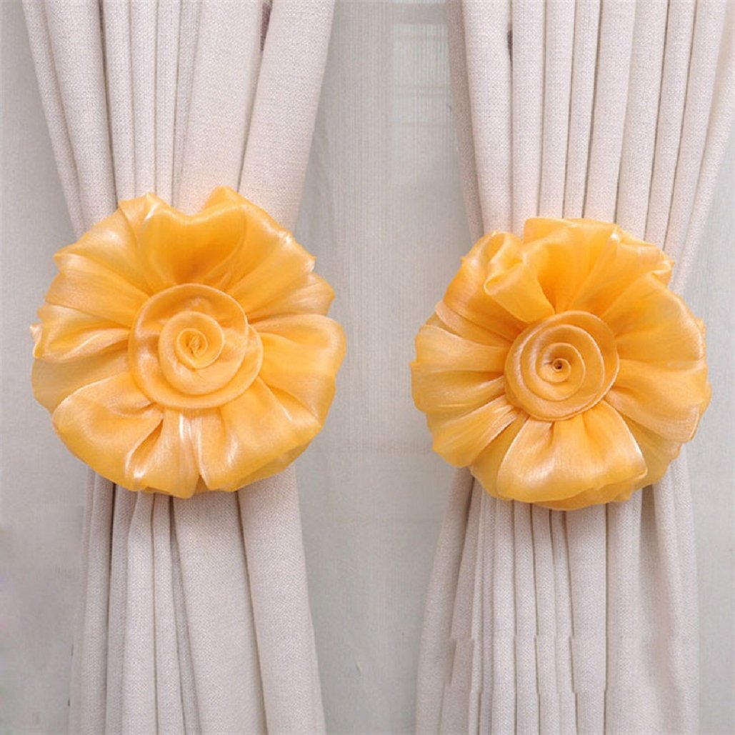 Rose flower Curtain tieback(17×3CM),Tuscom (Yellow)