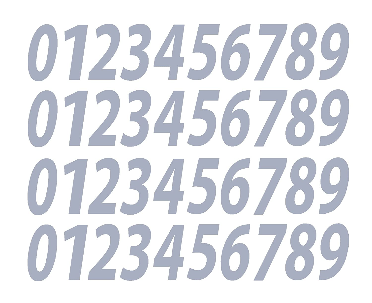 0-9 Numbers Gray Vinyl Sticker Decals Assorted Set of 40 Choose Size!! 1/2' to 12' (V546GrayItal) (8') Five Star Graphics