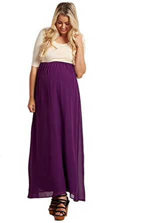 db8fbba870a0b PinkBlush Maternity Purple Chiffon Colorblock Tall Maternity Maxi Dress,  Small at Amazon Women's Clothing store: