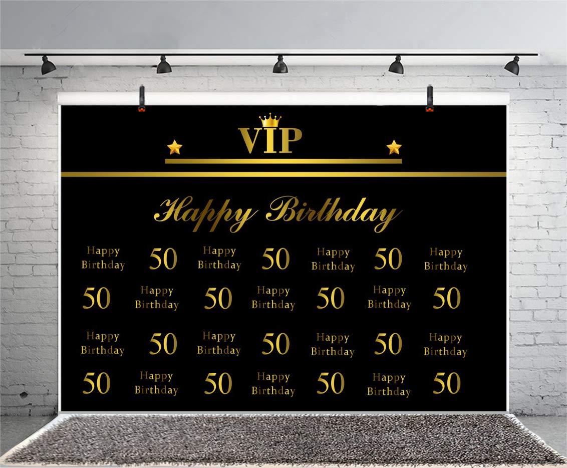 Cassisy 2,2x1,5m Vinilo Cumpleaños Telon de Fondo 50 cumpleaños Feliz Bandera VIP Corona Fondo Negro Fondos para Fotografia Party bebé Infantil Photo ...