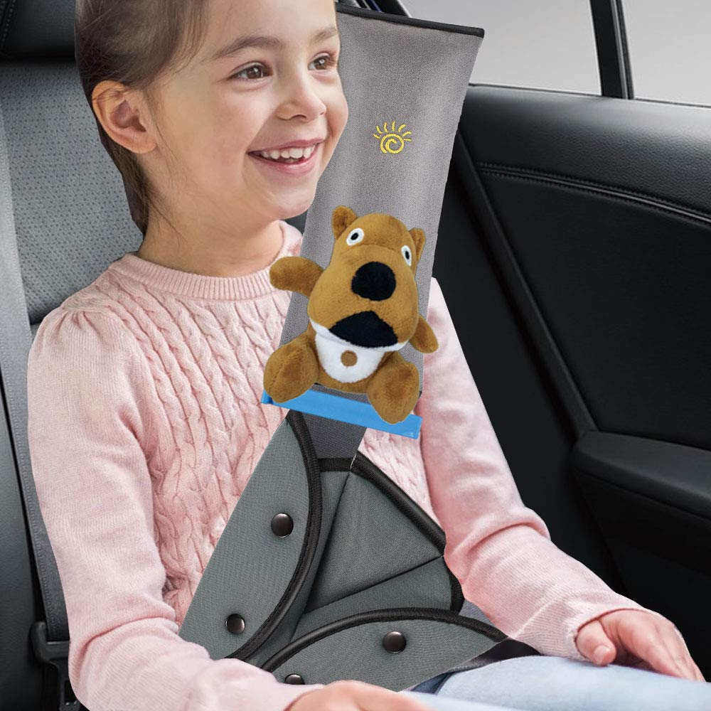 Seat Belt Adjuster and Pillow for Kids with Plush Toy, Soft Neck Support Headrest, Comfortable Seatbelt Covers for Child, Car Seat Belt Shoulder Pads for Kid (Brown-Dog)