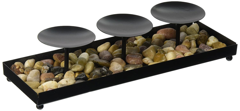 Metal Candle Holder Stones Set Home Decor Black Modern