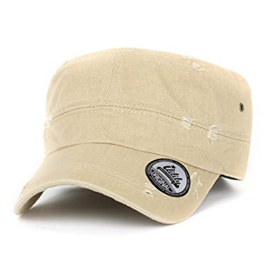 ililily Distressed Cotton Cadet Cap with Adjustable Strap Army Style Hat  (cadet 527 4) Beige 8b6e8be3590