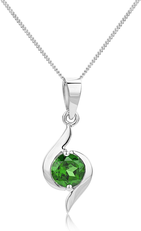 orovi Collar Mujer oro blanco 9quilates/375oro colgante con cadena 45cm Esmeralda joyas para mujeres