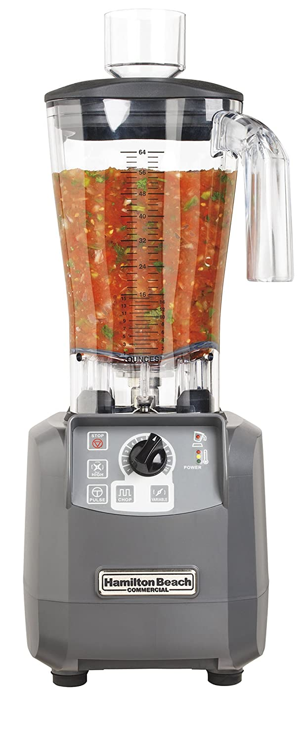 "Hamilton Beach Commercial HBF600 Culinary Blender, 3 hp, Variable Speed with Chop Function, 64 oz./1.8 L Polycarbonate Container, 19.98"" Height, 8.69"" Width, 8.19"" Length, Grey"