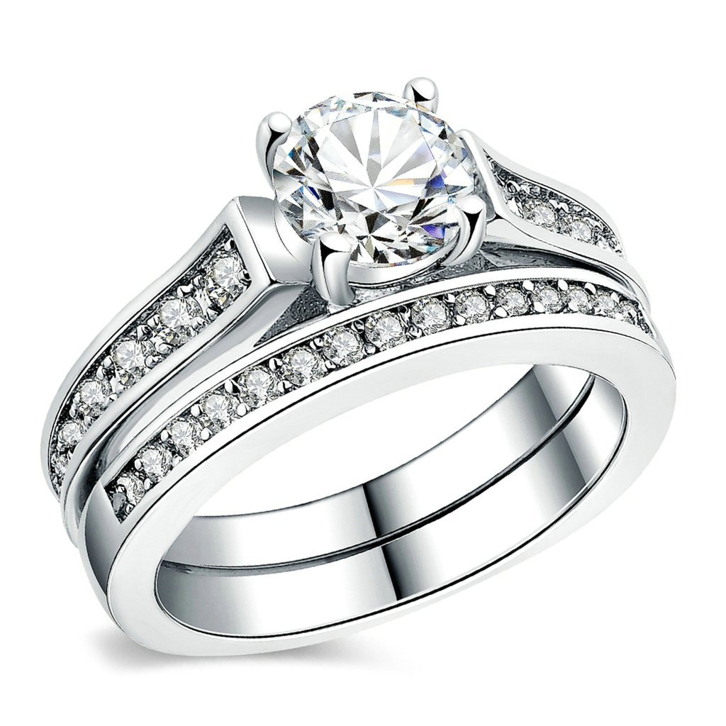 Gnzoe Jewelry, Silver Plated Engagement Ring Wedding Bands Set Silver for Women GL2Z7TWSEVEN1017