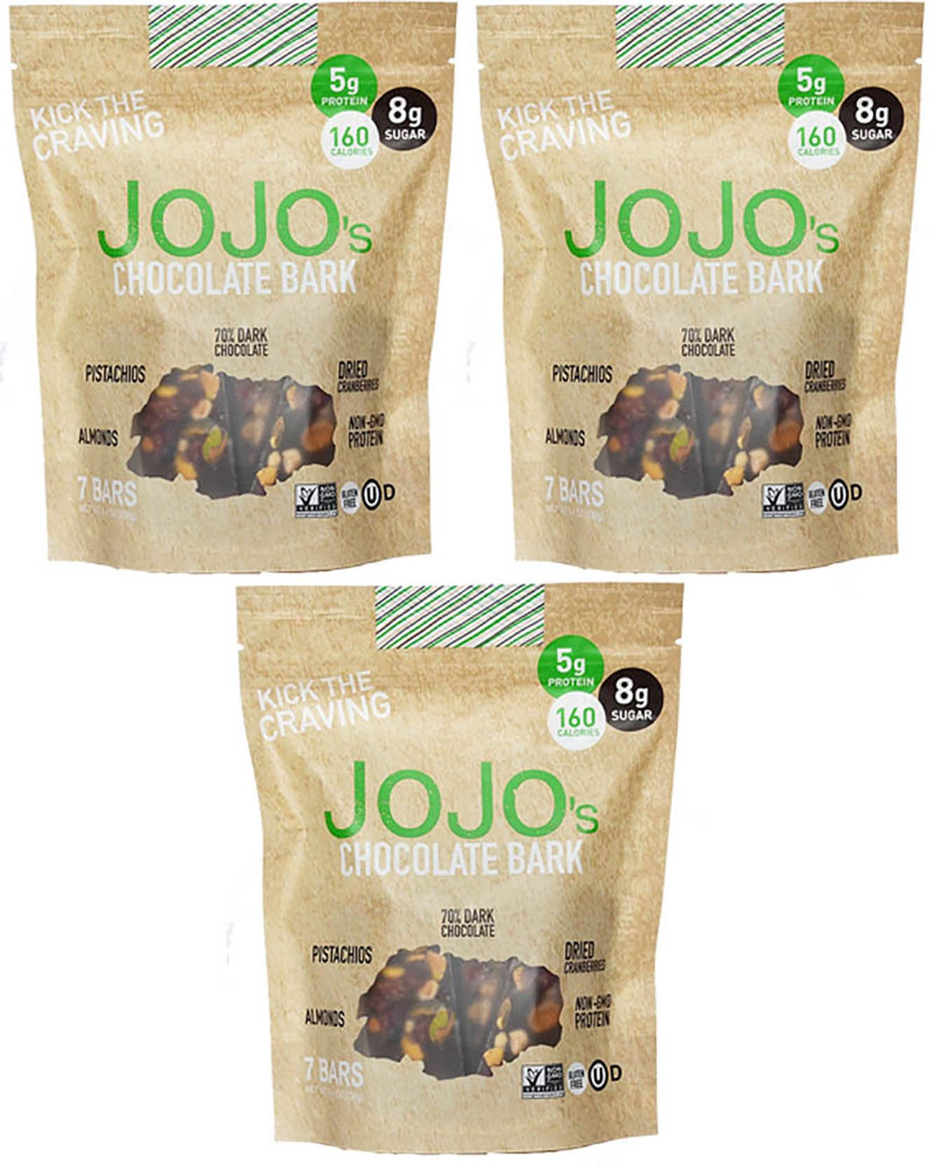 JOJO's- Dark Chocolate Bark With All Natural Protein Raw Nuts and Fruit, NON-GMO, Gluten Free, Paleo Friendly, 1.2 Ounce Bars, 21 Count(Three Week Supply- 25 oz)