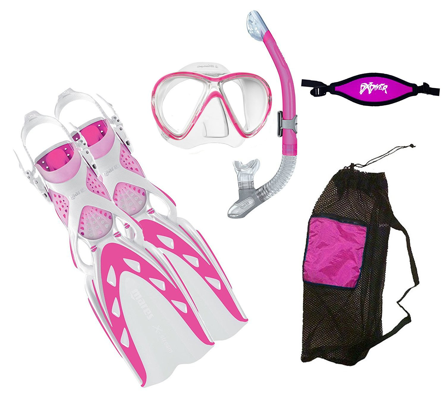 MARES X-Stream Fins X-Vision LiquidSkin Mask Ergo Dry Snorkel DXDiver Mask Strap Mesh Gear Bag Snorkeling Scuba Diving Size SM, Pink by Mares