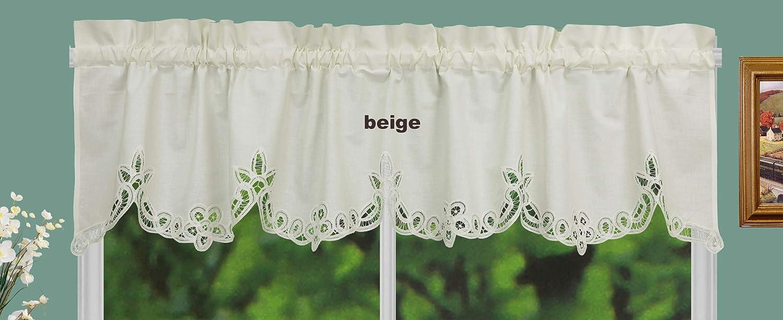 Amazon Com Creative Linens Battenburg Lace Kitchen Curtain Valance Ecru Beige Dining
