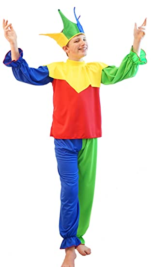 Dance Stage Medieval Renaissance Fancy Dress  JESTER COSTUMES With Hat