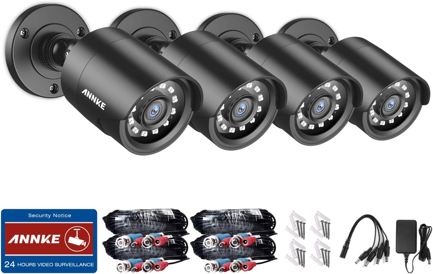 ANNKE 4-Packed 1080P HD-TVI Security Camera 2.0MP Hi-Resolution Indoor Outdoor Bullet Camera with 100ft Super Night Vision, IP66 Weatherproof Housing, Smart IR-Cut