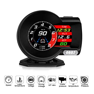 ACECAR F8 Universal Car HUD Dual System Head Up Display Digital OBD/GPS Speedometer OBDII EUOBD with Test Brake Test Overspeed Alarm HD LCD Refitting Code Table Display