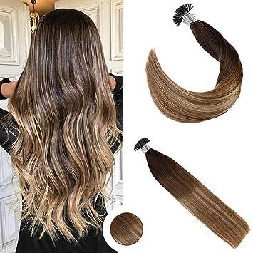 gut kaufen beste Auswahl an ästhetisches Aussehen Ugeat 50g U Tip Hair Extensions Beads 18Zoll/45cm Haarverlangerung Echthaar  Extensions Bondings #4/6/613 Echthaar Remy Extensions Ombre
