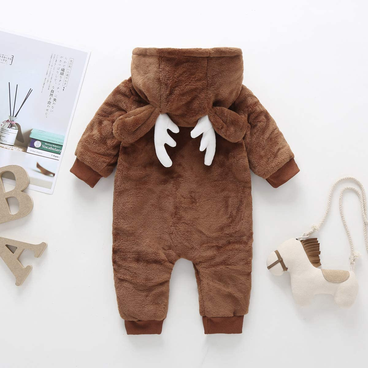 Hattfart Toddler Infant Baby Girl Boy Long Sleeve Deer Romper Jumpsuit Pajamas Xmas Outfit