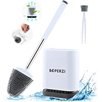 Boperzi Toilet Brush and Holder Set Wall Mounted, Anti Rust WC Silicone Bristles Toilet Bowl Cleaner Brush Kit with…