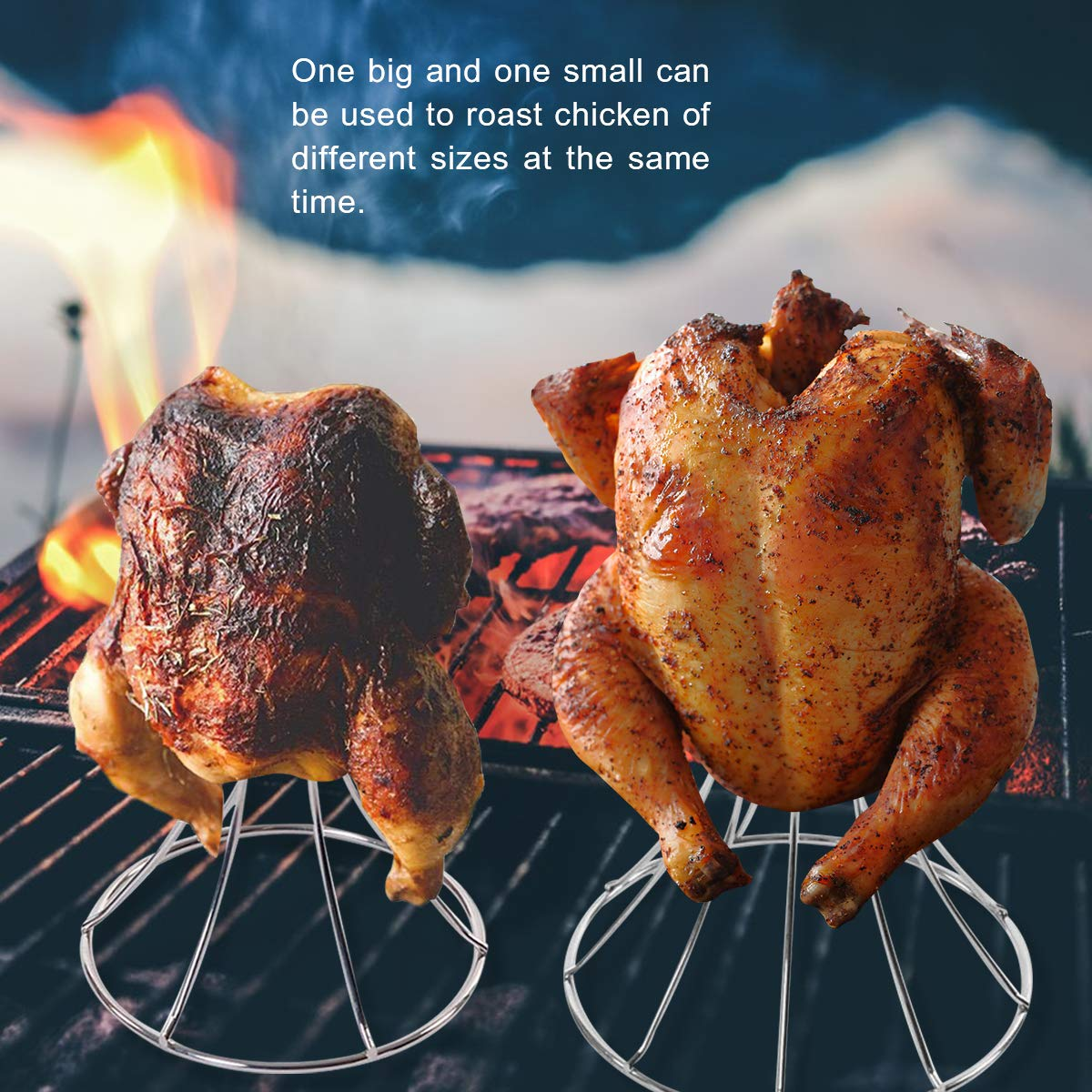 QQMaster Vertical Chicken Roaster Stainless Steel Turkey Rack Roaster Beer Can Meat Rack Holder Non-Stick Poultry Grill Stand Can Hold Turkey Or Cornish Game Hens Fit for Big Green Egg,Kamado Grills by QQMaster (Image #7)