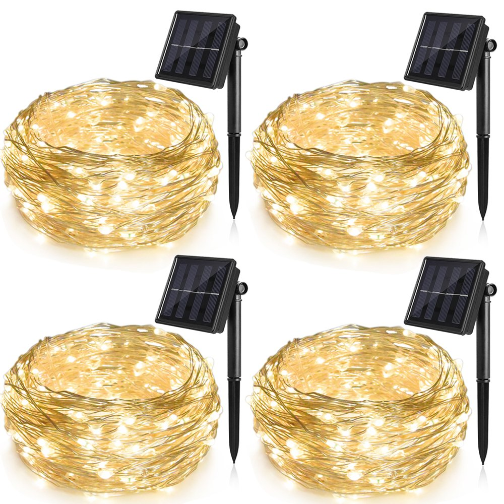 Ankway Solar String Lights Upgraded 100LED 4 Pack Solar Fairy Lights IP65 Waterproof 72ft Copper Wire Lights
