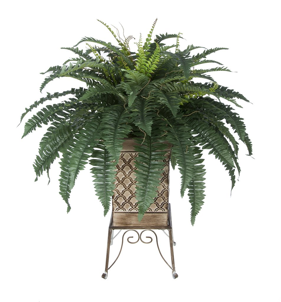 Artificial Fern in Small Planter Stand (Tan)