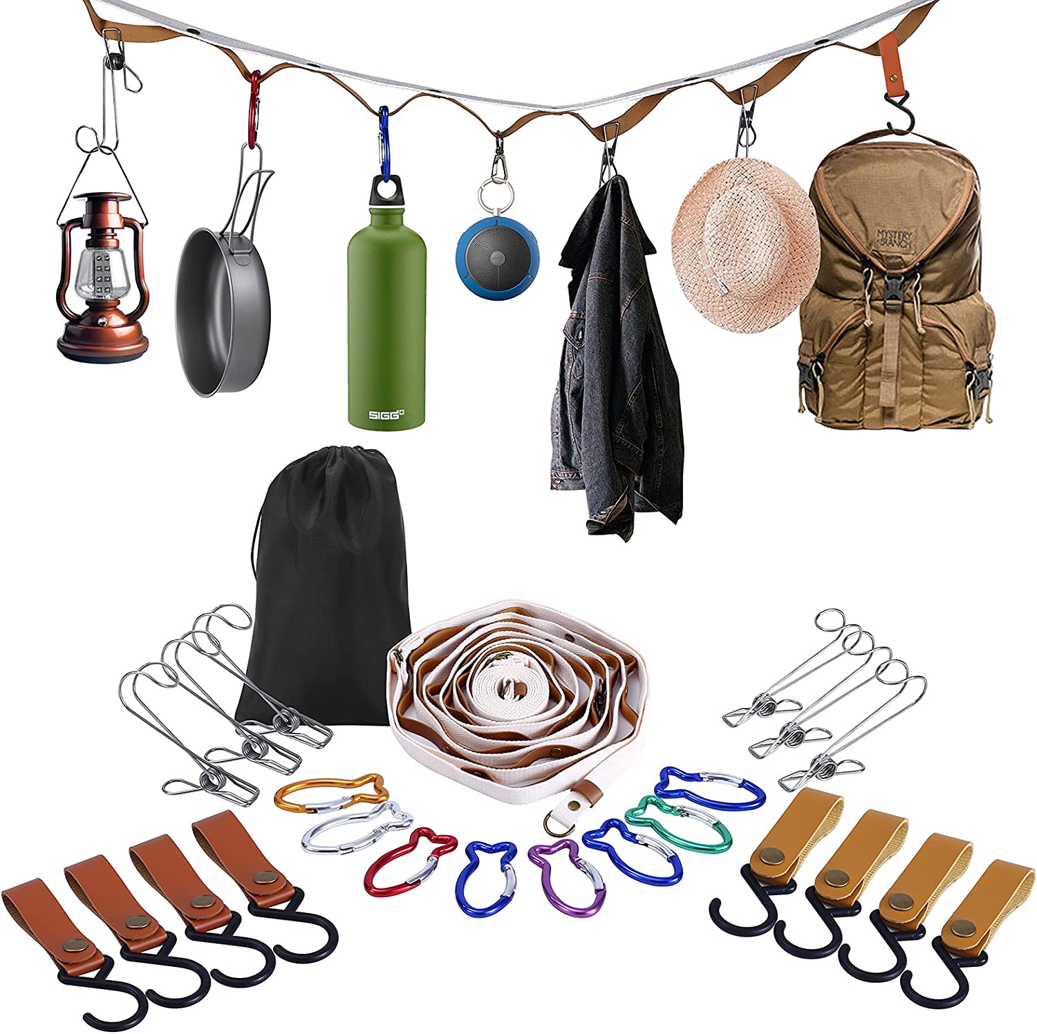 Campsite Storage Strap Camping Accessories, Outdoor Equipment Ten Lanyard Travel Clothesline Camping Essentials with 16 Buckle & 6 Clothespins for Camper Family RV Trailer Travel Tent Hanging Gear