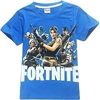 EMILYLE Garçon T-Shirt Fortnite Enfant Jeux Vidéo Top d'été Geek Battle Royale Manches Courtes Haut Ado Col Rond