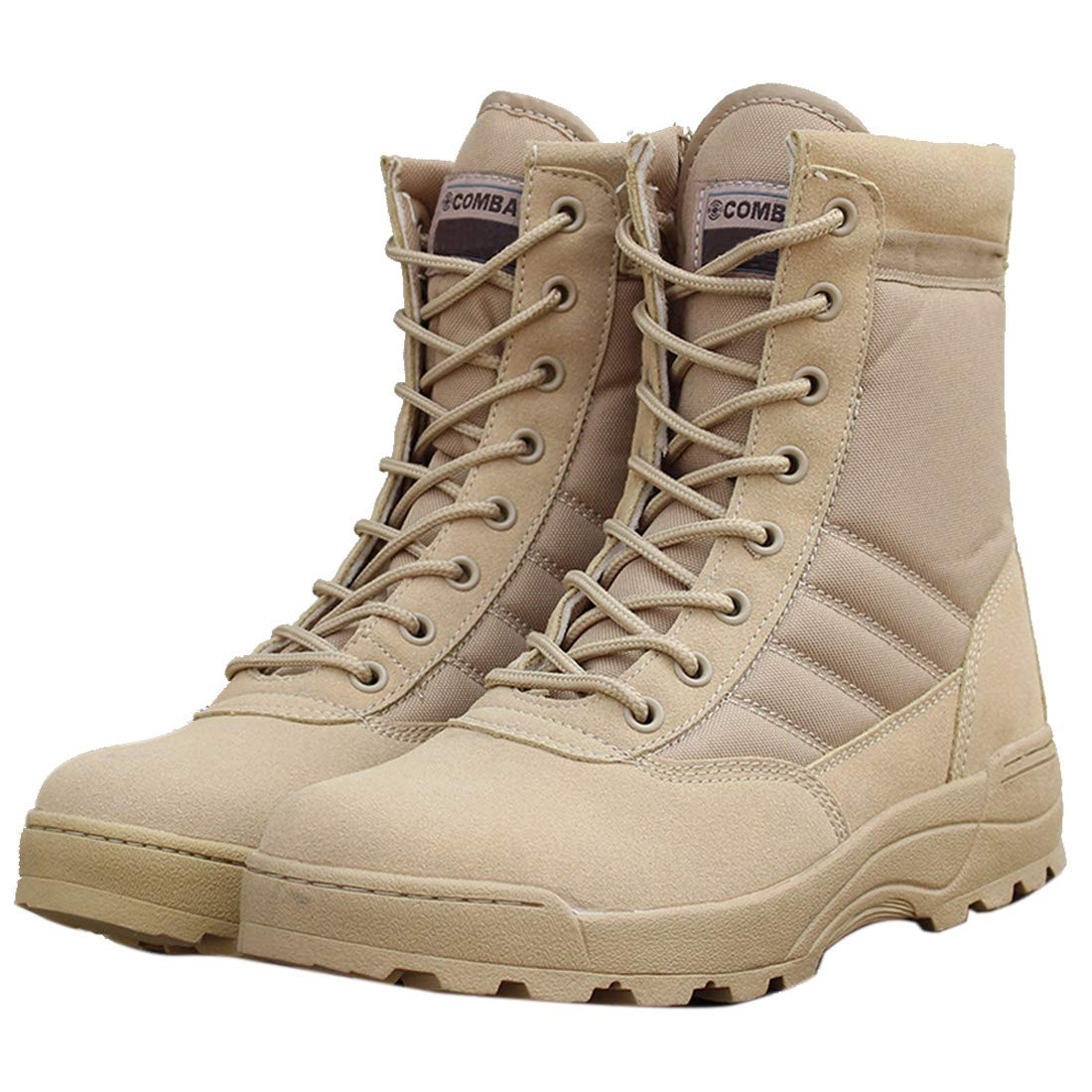 DANDANJIE Männer und Frauen Wanderstiefel Trainieren Outdoor-Stiefel High-Top-Wüsten Stiefel,Sand,44EU