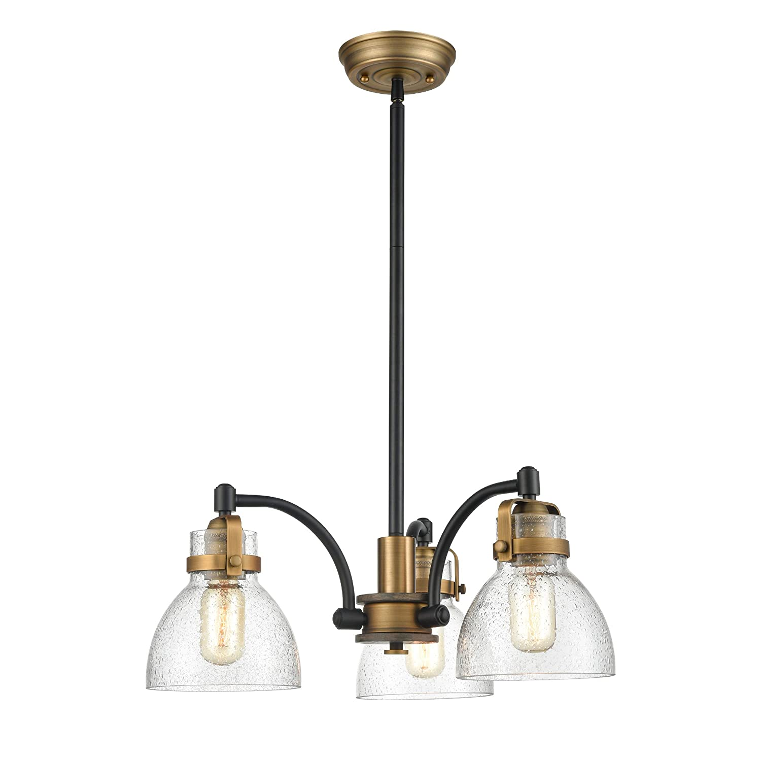"WILDSOUL 10013BK 20"" Modern Farmhouse 3-Light Ceiling Pendant Chandelier, Matte Black and Antique Brass Finish Vintage Rustic Hanging Light Fixture, Seedy Dome Glass and Oak Wood, LED Compatible"