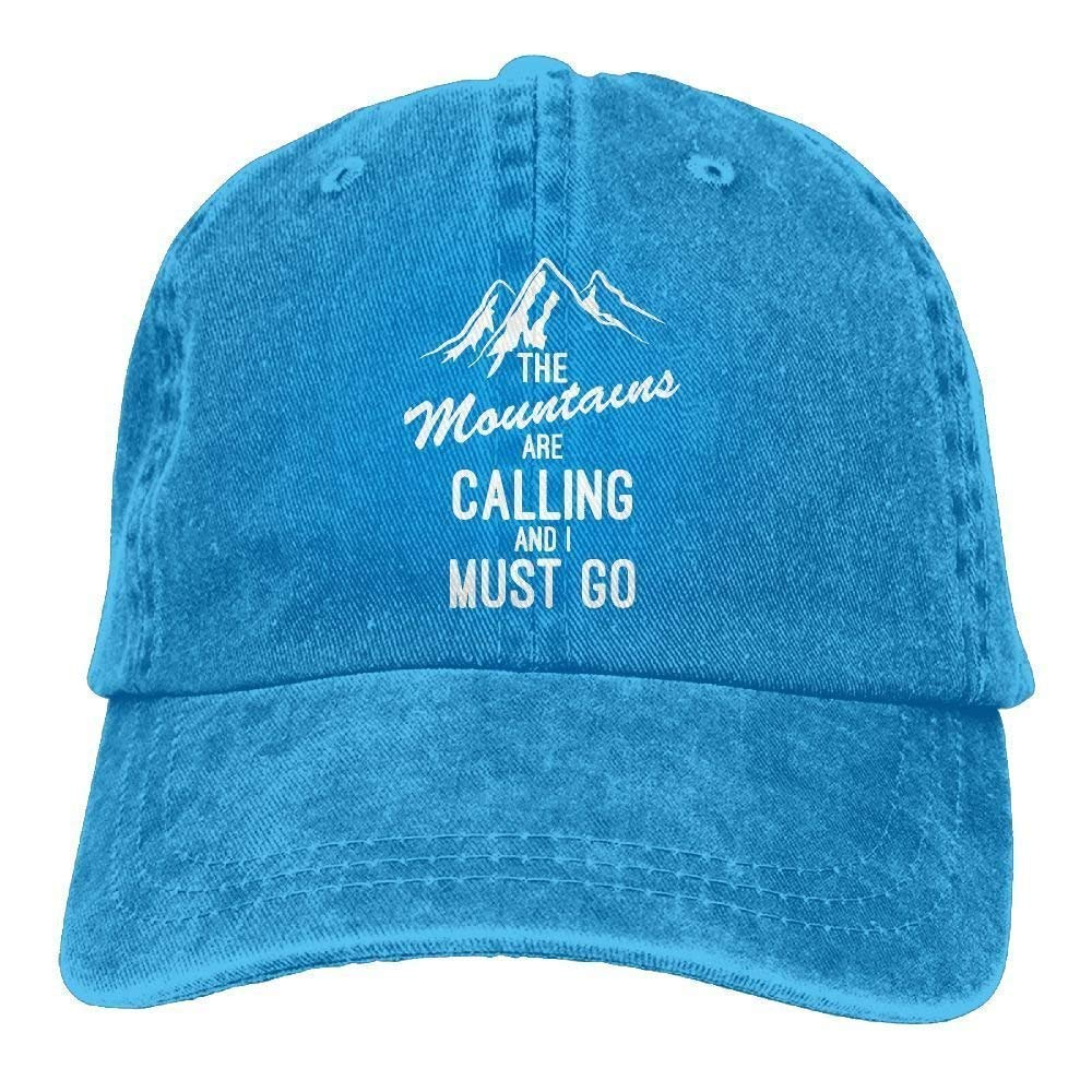 The Mountains are Calling I Must Go Adult Cotton Denim Cowboy Hat Sun Cap W554316