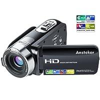 Caméscope 1080p Ansteker Caméra Vidéo Numérique HD 24MP 16X Zoom Numérique avec Rotation de 270 Degrés 3.0 in TFT-LCD (16: 9) Ecran (Noir)