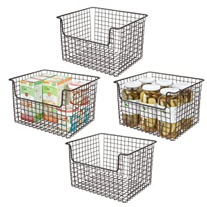 """mDesign Metal Kitchen Pantry Food Storage Organizer Basket - Farmhouse Grid Design with Open Front for Cabinets, Cupboards, Shelves - Holds Potatoes, Onions, Fruit - 12"""" Wide, 4 Pack - Bronze"""