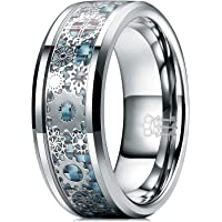 THREE KEYS JEWELRY 8mm Silver Tungsten Rings with Gear Inlay Light Blue Carbon Fiber