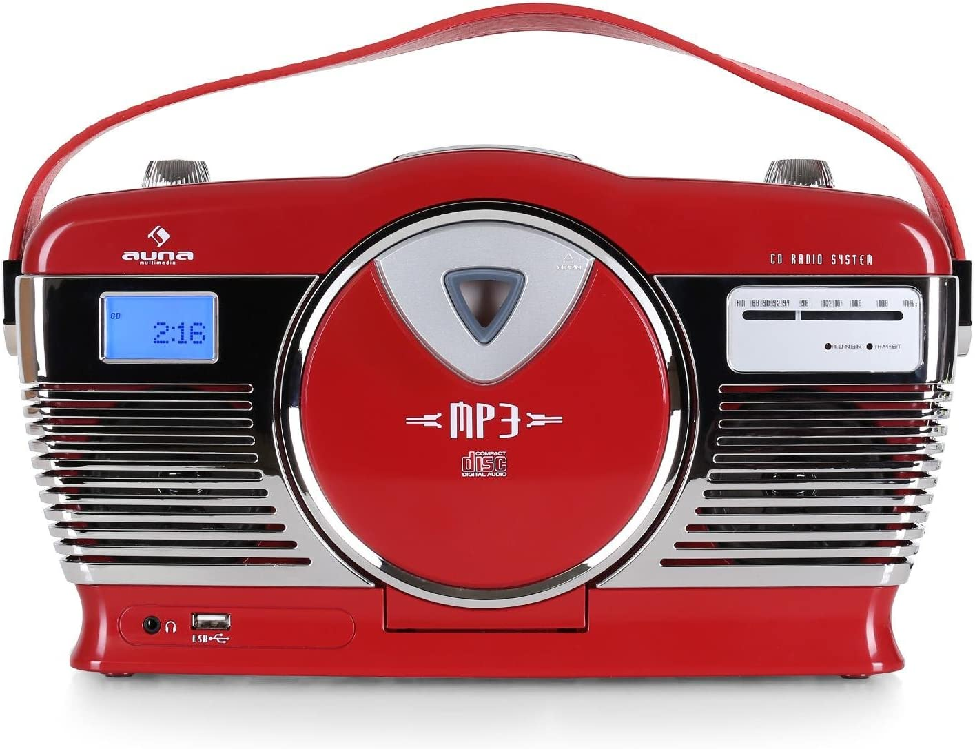 Auna Rcd 70 Retro Cd Radio Nostalgie Radio Rot Elektronik