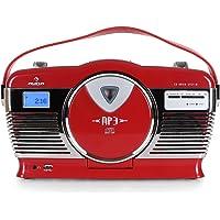 AUNA RCD-70 - Radio VHF, Design rétro, Port USB Compatible MP3, Lecteur CD / MP3 à Chargement Frontal, Lecture programmable, Lecture aléatoire, écran LCD, Sortie Casque, Rouge