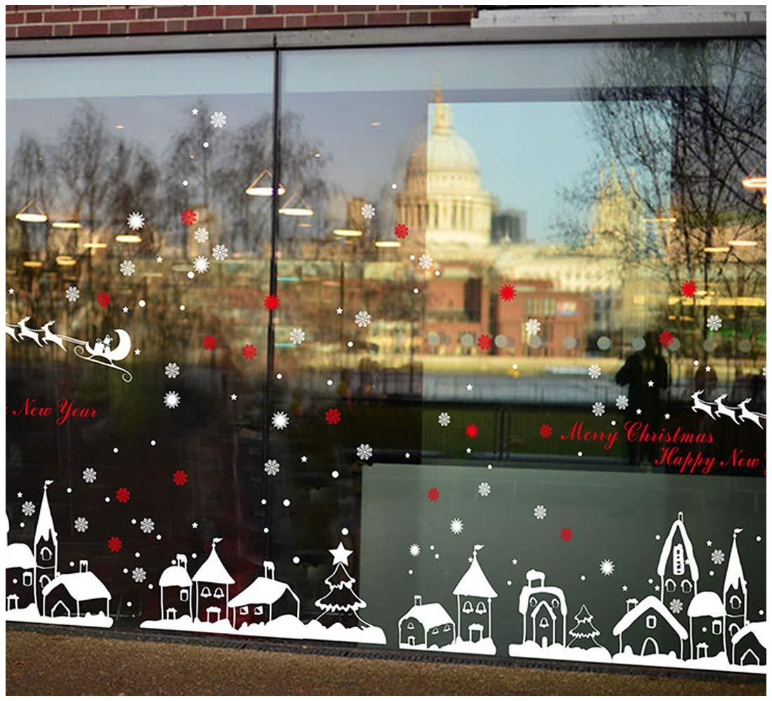 Pegatinas de Navidad ciervo carro arbol fiesta extraíbles adorable Papá Noel nieve alce colores pegatina de pared etiqueta engomada de cristal (Blanco) tuopuda