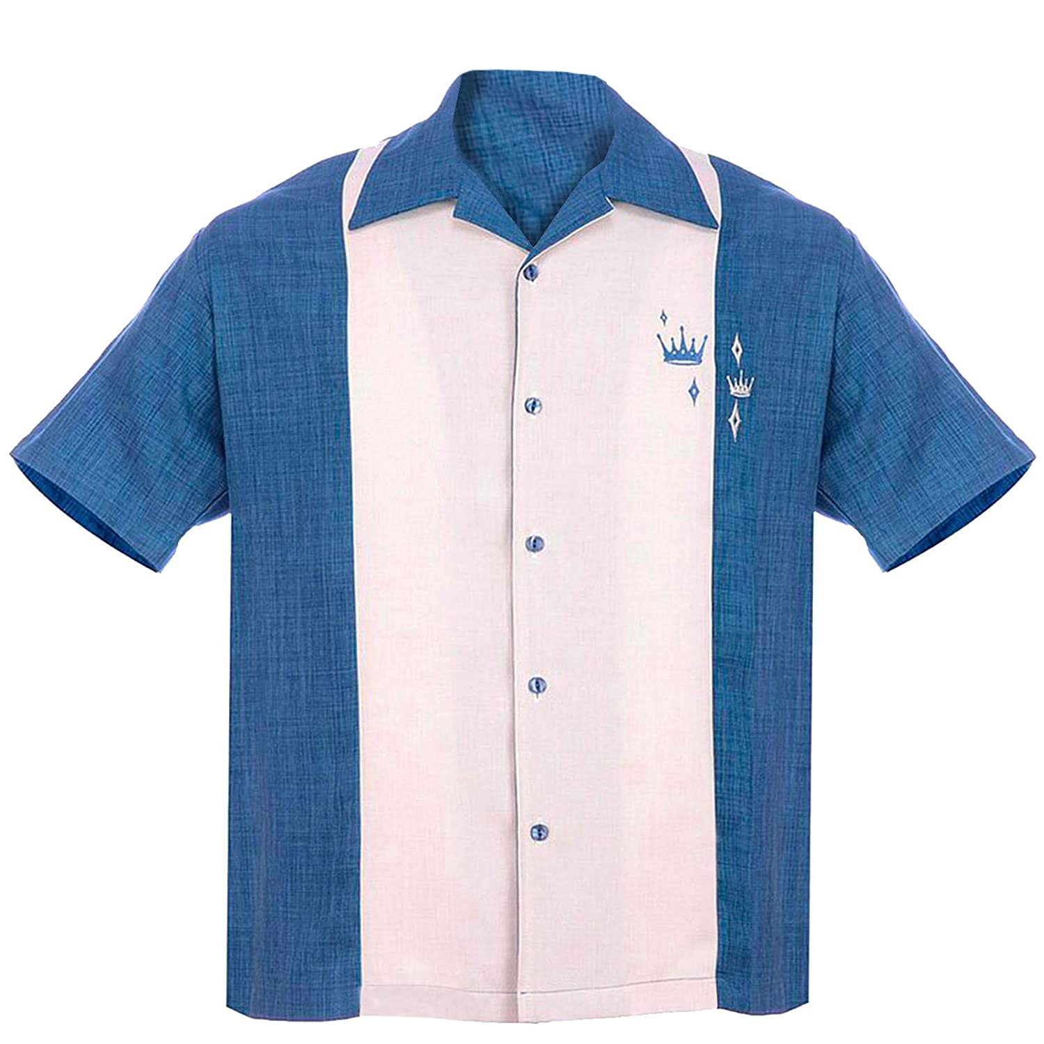 1950s Men's Costumes: Greaser, Elvis, Rockabilly, Prom Steady Clothing Mens Contrast Crown Button Up Bowling Shirt Blue $59.99 AT vintagedancer.com