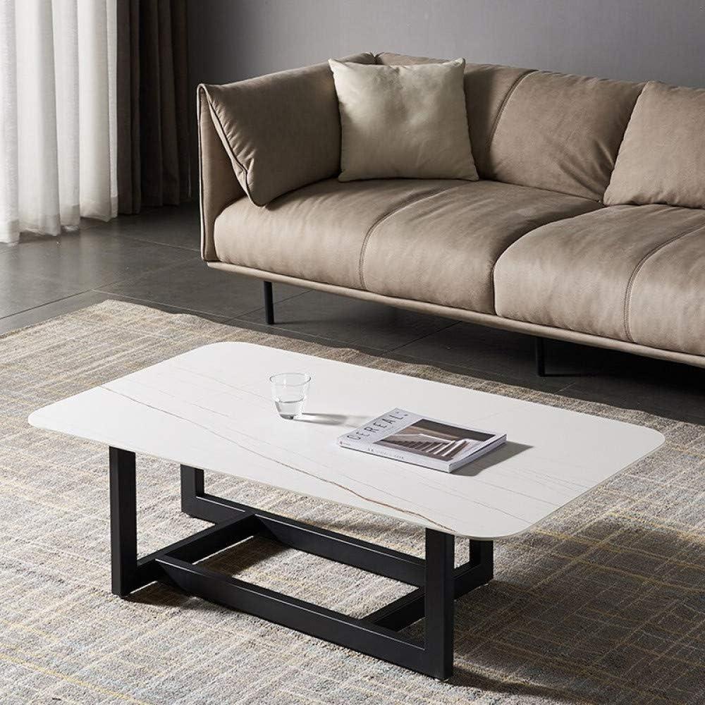 2020 Cool Moderne salontafel marmeren plaat rechthoekige salontafel middentafel met metalen frame voor woonkamer 47 inch, wit wit P4rnKlx