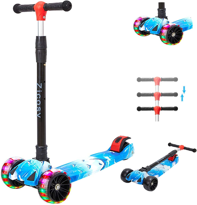 Kids Scooter Child Kick Flashing LED Light Up 3 Wheel Push Adjustable Blue