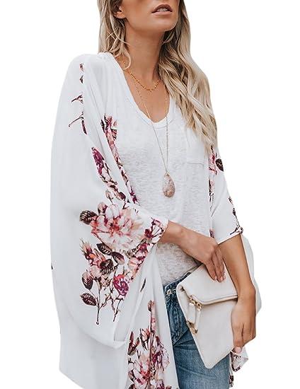 9da5a1ad0f Zehui Blusa Estampada de Gasa para Las Mujeres de Moda