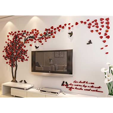 3d Couple Tree Wall Murals for Living Room Bedroom Sofa Backdrop Tv Wall Background, Originality Stickers Gift, DIY Wall Decal Home Decor Art Decorations (Large, Red)