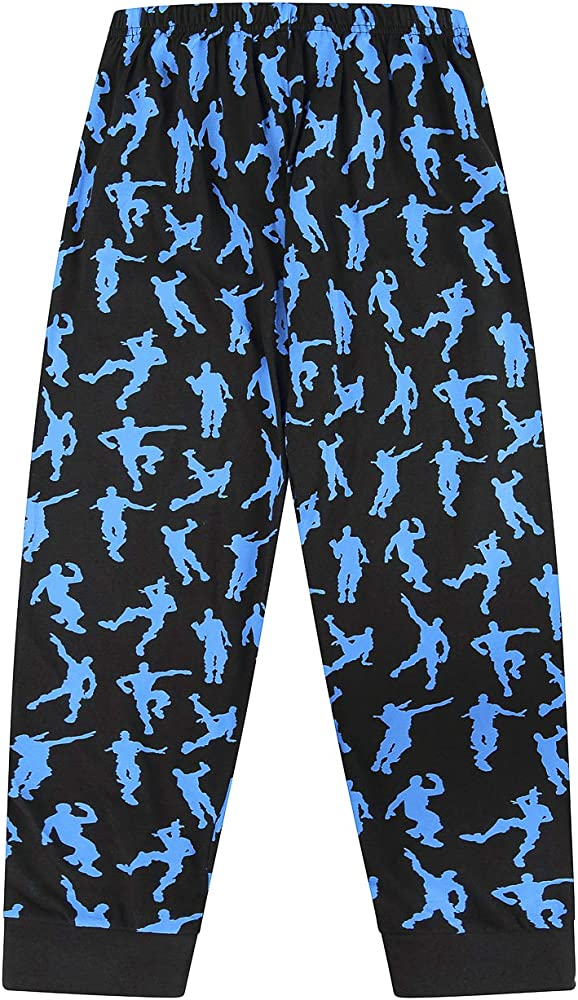 The Pyjama Factory Emote Legend Dance Gaming All Over Gaming Black Blue Cotton Long Pyjamas