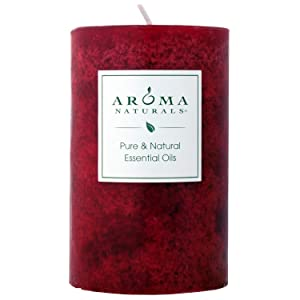 Aroma Naturals Holiday Essential Oil Scented Pillar Candle, Orange, Clove and Cinnamon, Warm Spice, 2.5 inch x 4 inch